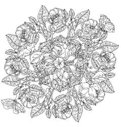 hand drawn wild roses set vector image vector image