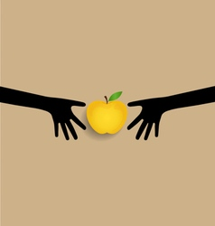 Hands and apple vector