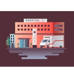 Hospital building design flat vector image