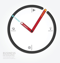 Infographics clock design diagram line vector