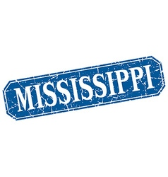 Mississippi blue square grunge retro style sign vector