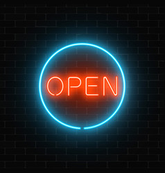 neon open sign in a circle frame on a brick wall vector image