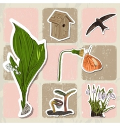 Poster with spring elements fiowers birds vector image