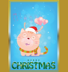 Santa cat is waiting for love from darling vector
