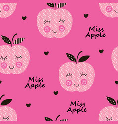 Seamless pattern with abstract smiling apples vector