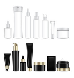 set of realistic black and white cosmetic vector image