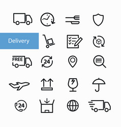 shipment and delivery icons vector image