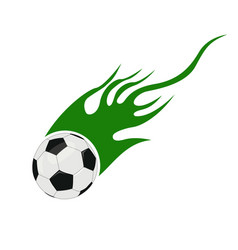 soccer ball with flames vector image