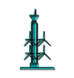 Tidal power plant icon image vector