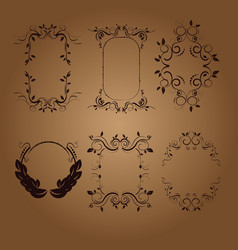 Vintage frames and scroll elements vector