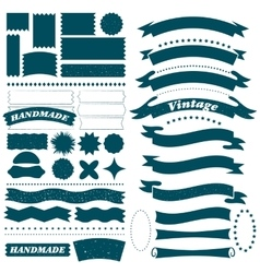 Vintage hand made ribbon and label set vector