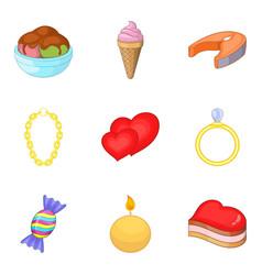 wedding dinner icons set cartoon style vector image vector image