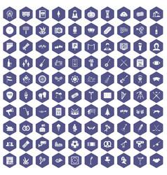 100 meeting icons hexagon purple vector