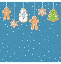 Hanging gingerbread man tree snowman and stars vector