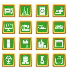 household appliances icons set green vector image