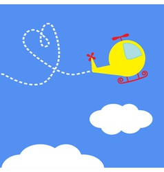Cartoon helicopter dash heart in the sky card vector