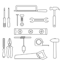 Set of black outline tools vector