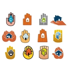 Abstract icons of houses in hands vector