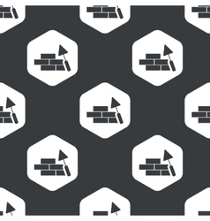 Black hexagon building wall pattern vector
