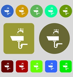 Washbasin icon sign 12 colored buttons flat design vector