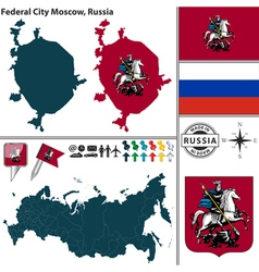 Map of federal city moscow vector
