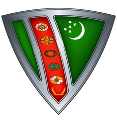 Steel shield with flag turkmenistan vector