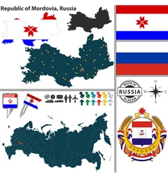 Map of republic of mordovia vector