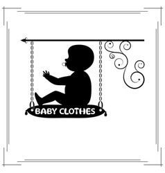 Baby clothes single signboard vector