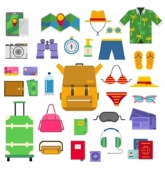 Summer vacation symbols beach travel holiday vector