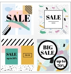 Artistic trendy memphis sale banners vector image