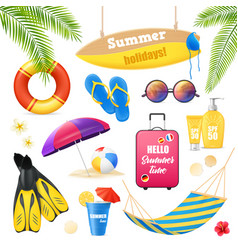 beach vacation realistic items set vector image