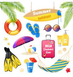 Beach vacation realistic items set vector