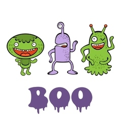 Boo card with three funny monsters vector image