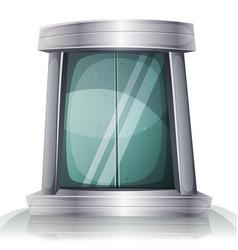 Cartoon scifi iron elevator door vector