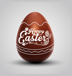 chocolate easter egg with ornament vector image vector image