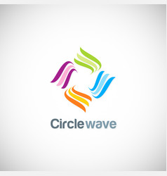 circle wave colored logo vector image