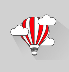 Flat air balloon in flight simple style vector