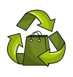 Green bag inside of recycling symbol vector