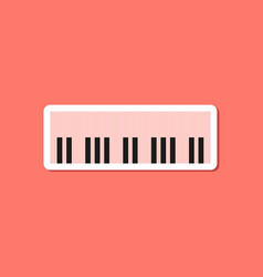 paper sticker on stylish background piano keys vector image