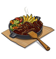 Roasted meat and vegetables vector