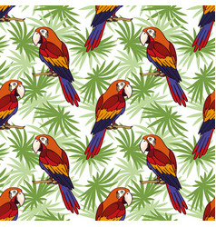 seamless parrot and leaves vector image