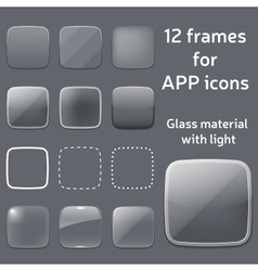 Set of empty glass frames for app icons vector