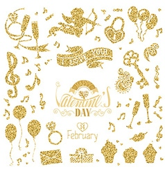 set of gold signs for Valentines Day design vector image vector image