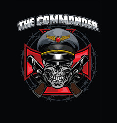 Skull commander design vector