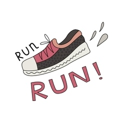 Sneaker and run lettering vector