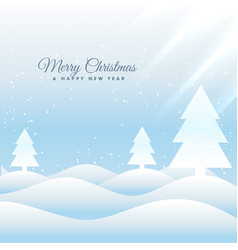 Snowy merry christmas greeting card template vector