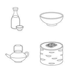 Soy sauce noodles kettlerollssushi set vector