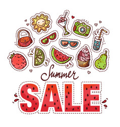 Summer sale design with doodles vector