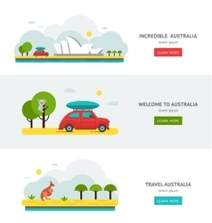 Travell Roads in Australia Road Trip on Car vector image