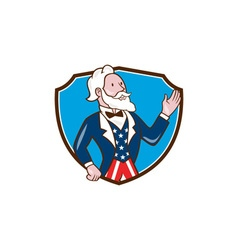 Uncle Sam Waving Hand Crest Cartoon vector image